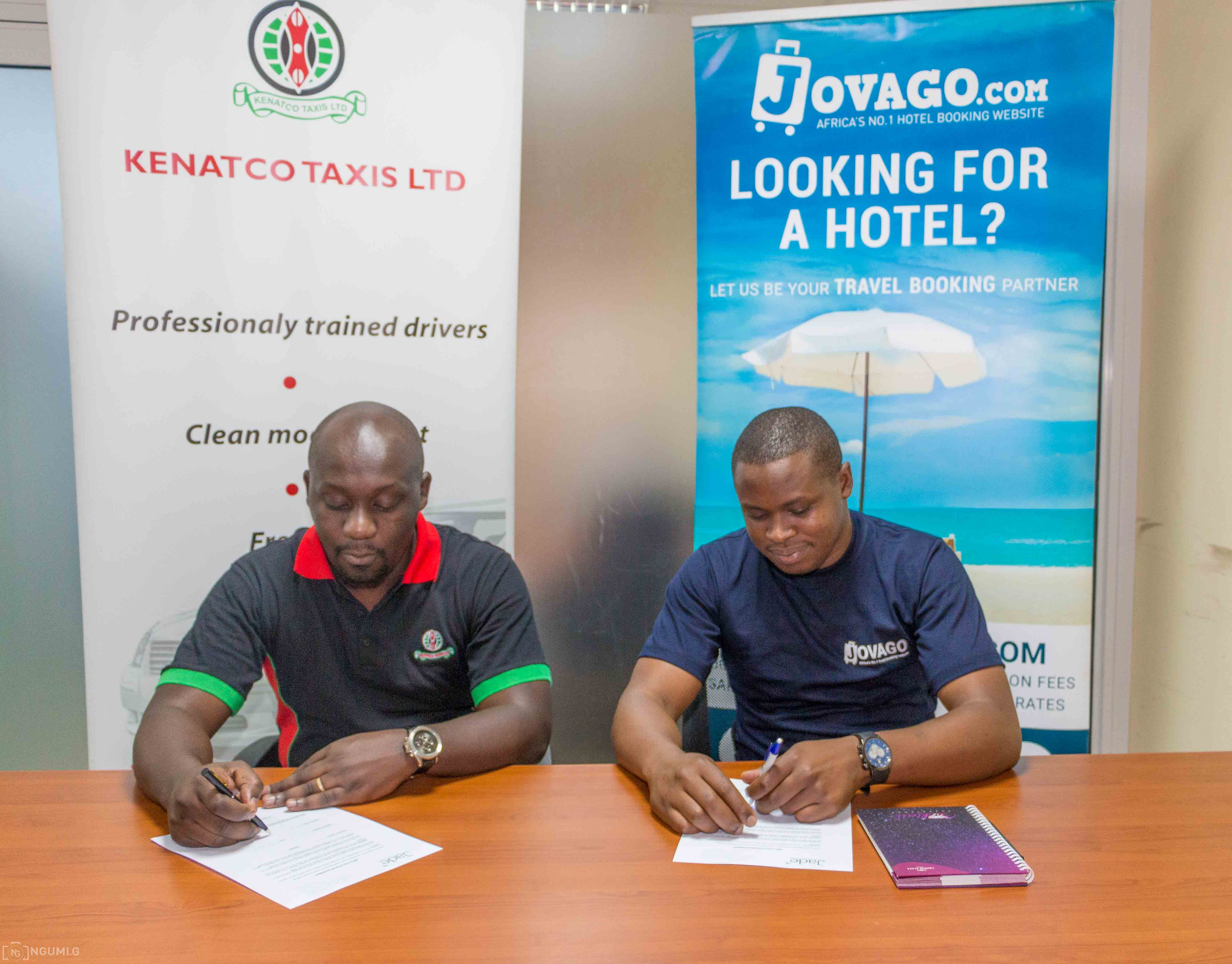 It's a deal! Cyrus Onyiego, Country Manager for Jovago Kenya with Ken Anam-Business Development Manager for KENATCO Taxi Services.jpg